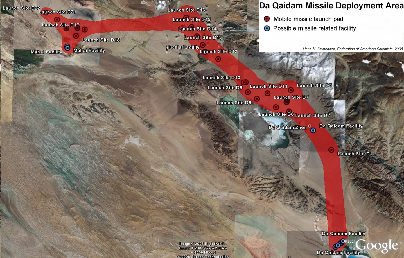 22 Launch Pads Have Been Identified Northwest Of Da Qaidam Click On Image For Full Size