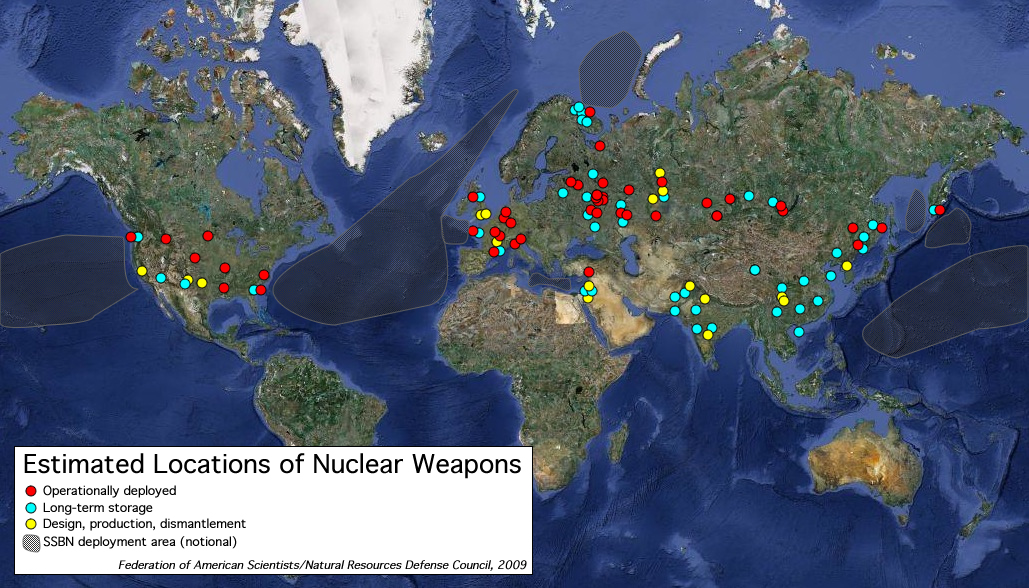 Estimated Nuclear Weapons Locations - Us missile silos map