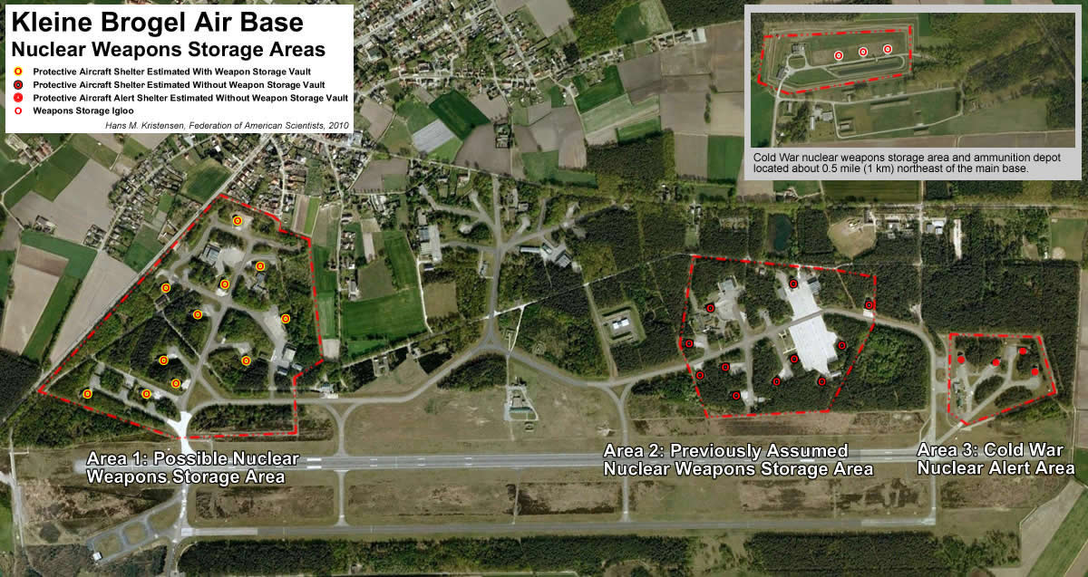 Estimated locations for nuclear weapons at Kleine Brogel Air Base have